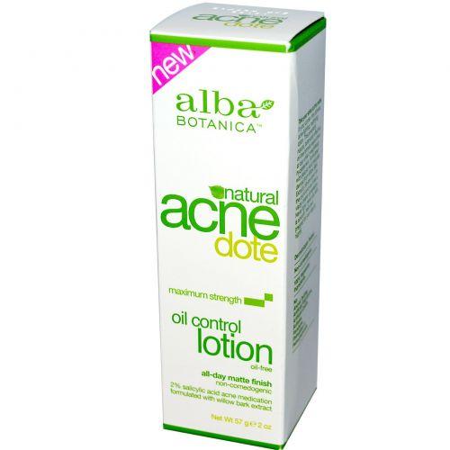 Alba Botanica, Acne Dote, Лосьон для контроля уровня кожного сала, Без масла, 2 унц. (57 г)
