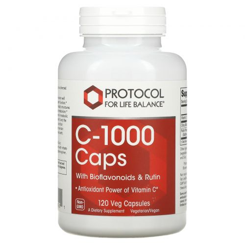 Protocol for Life Balance, C-1000 Caps with Bioflavonoids & Rutin, 120 Veg Capsules