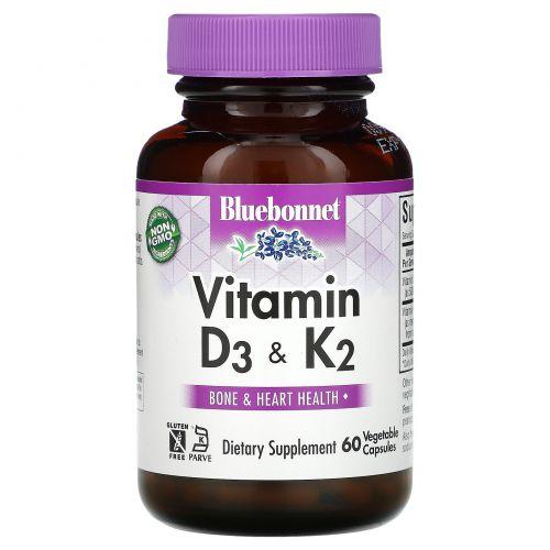 Bluebonnet Nutrition, витаминыD3 и K2, 60вегетарианских капсул