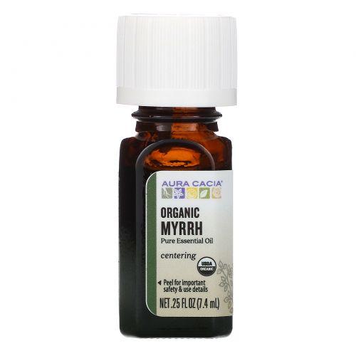 Aura Cacia, Pure Essential Oil, Organic Myrrh, .25 fl oz (7.4 ml)