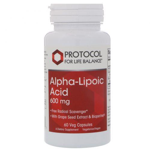 Protocol for Life Balance, Альфа-липоевая кислота, 600 мг, 60 вегетарианских капсул