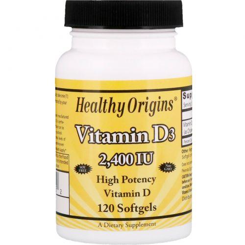 Healthy Origins, Витамин D3, 2400 МЕ, 120 капсул
