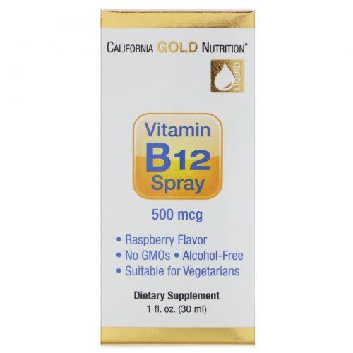 California Gold Nutrition, Витамин B12 в форме спрея, без спирта, малина, 500 мкг, 1 жидкая унция (30 мл)