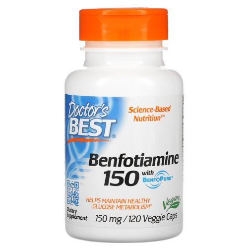 Doctor's Best, Бенфотиамин 150 с BenfoPure, 150 мг, 120 вегетарианских капсул