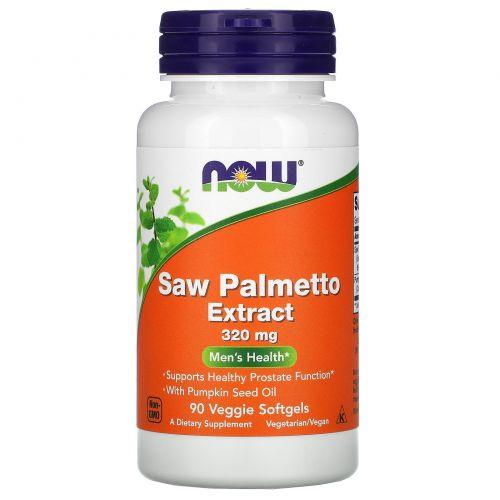 Now Foods, Экстракт ягод пальмы сереноа, Мужское здоровье, 320 мг, 90 растительных капсул