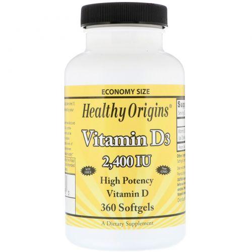 Healthy Origins, Витамин D3, 2400 МЕ, 360 капсул