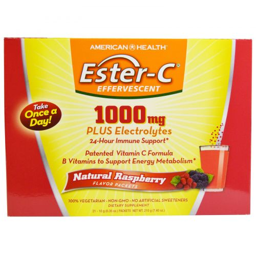 American Health, Шипучее средство Ester-C, натуральный малиновый вкус, 1000 мг, 21 упаковка, по 0,35 унции (10 г) каждая