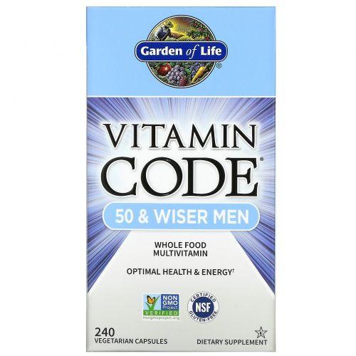 Garden of Life, Vitamin Code, для мужчин от 50-ти лет и старше, 240 растительных капсул