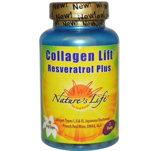 Nature's Life, Collagen Lift, с ресвератролом, 60 растительных капсул