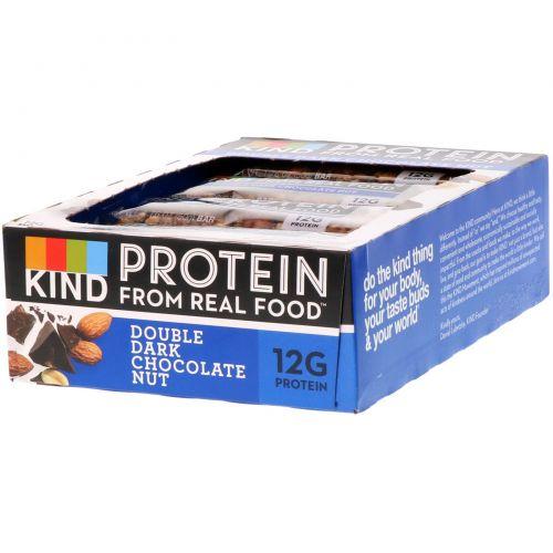 KIND Bars, Протеиновые батончики, Двойной темный шоколад и орех, 12 баточников, 1,76 унц. (50 г) каждый