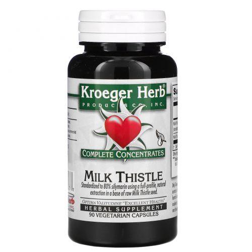 Kroeger Herb Co, Полная концентрация, Расторопша пятнистая, 90 растительных капсул