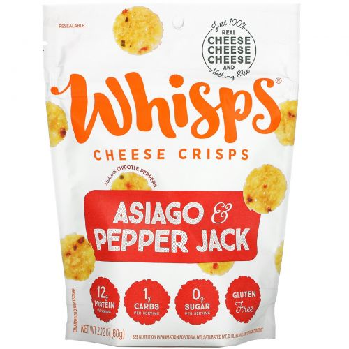 Whisps, Asiago & Pepper Jack Cheese Crisps, 2.12 oz ( 60 g)