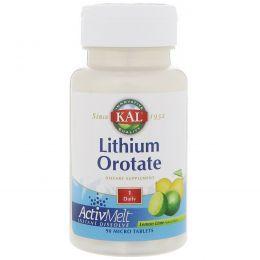 KAL, Оротат лития, натуральный вкус лимона и лайма, 90 микротаблеток