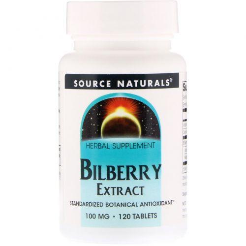 Source Naturals, Экстракт черники, 100 мг, 120 таблеток