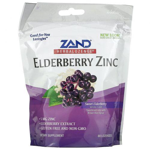 Zand, HerbaLozenge, Elderberry Zinc, Sweet Elderberry, 80 Lozenges