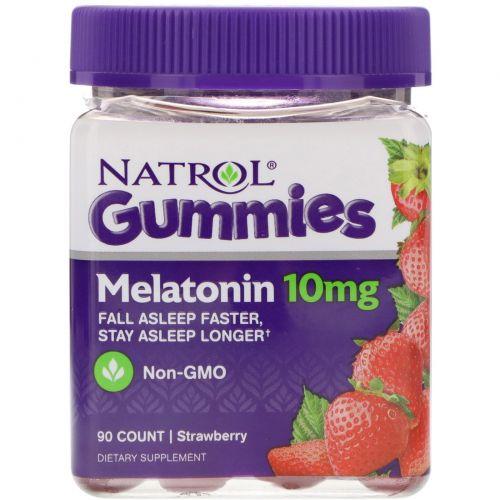 Natrol, Gummies, Melatonin, Strawberry, 10 mg, 90 Count