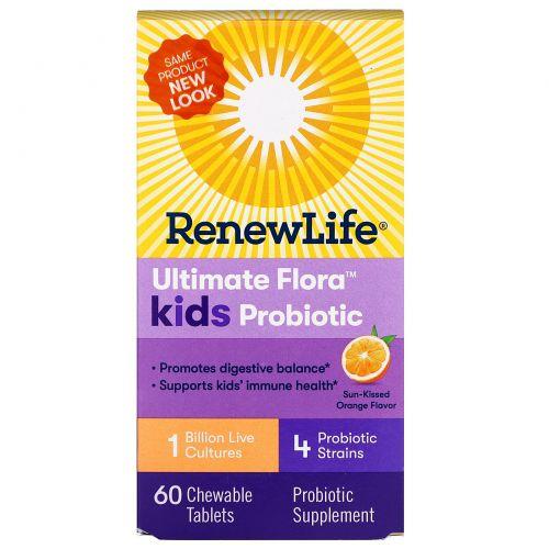 """Renew Life, """"Неотъемлемая флора"""", детский пробиотик, солнечный апельсин, 1 миллиард, 60 жевательных таблеток"""
