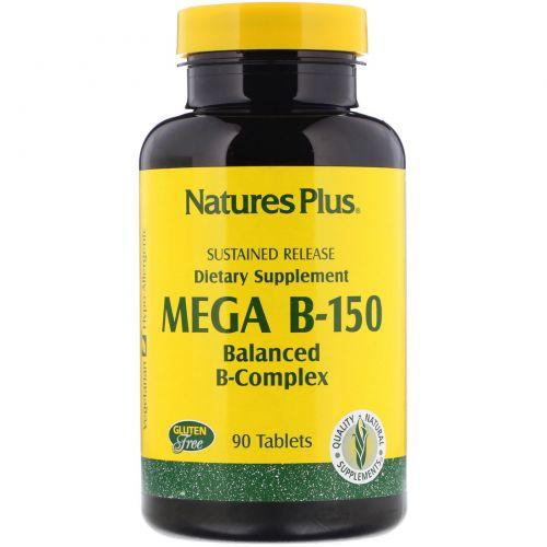 Nature's Plus, Mega B-150, Сбалансированный комплекс витаминов группы B, 90 таблеток