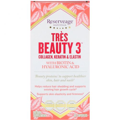 ReserveAge Nutrition, Tres Beauty 3, 90 капсул