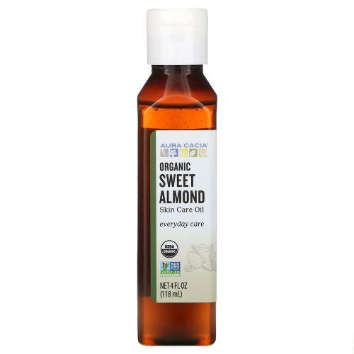 Aura Cacia, Натуральное масло для кожи, с питательным сладким миндалем, 4 жидких унции (118 мл)