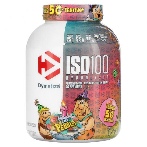 Dymatize Nutrition, ISO 100 Гидролизованный 100%-ный изолят сывороточного протеина, торт на день рождения, 5 фунтов (2,27 кг)
