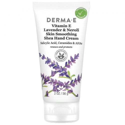 Derma E, Лечебный, увлажняющий крем для рук с витамином Е, лавандой и нероли, 2 унц. (56 г)