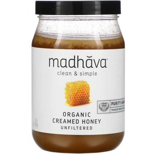 Madhava Natural Sweeteners, Clean & Simple, Organic Creamed Honey, Unfiltered, 22 oz (624 g)