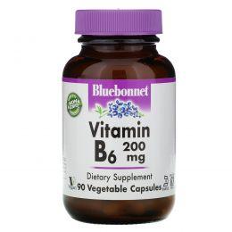 Bluebonnet Nutrition, Витамин B-6, 200 мг, 90 капсул в растительной оболочке