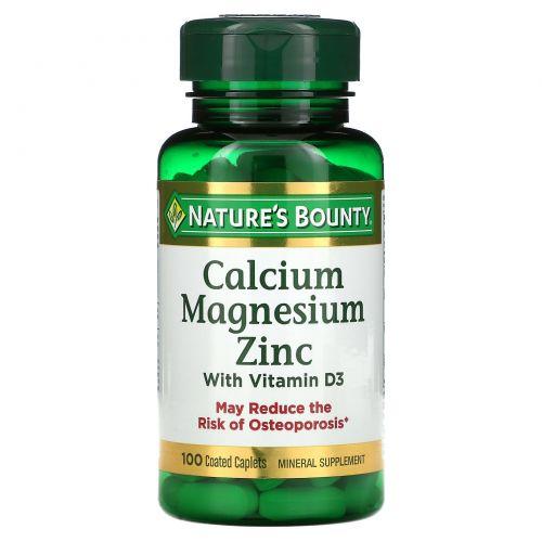 Nature's Bounty, Calcium Magnesium Zinc, 100 Coated Caplets