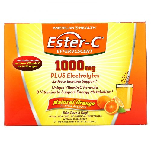 American Health, Витамин С Эстер C (витаминный комплекс), шипучий, натуральный апельсиновый ароматизатор, 1000 мг, 21 пакетиков, 0,35 унции (10 г) каждый