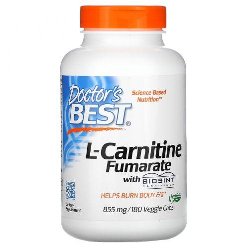 Doctor's Best, Лучший L-карнитина фумарат, 855 мг, 180 вегетарианских капсул