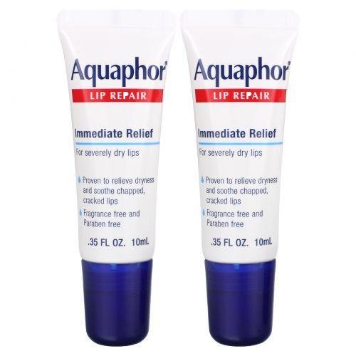 Aquaphor, Lip Repair, Immediate Relief, Fragrance Free, 2 Tubes, 0.35 fl oz (10 ml) Each