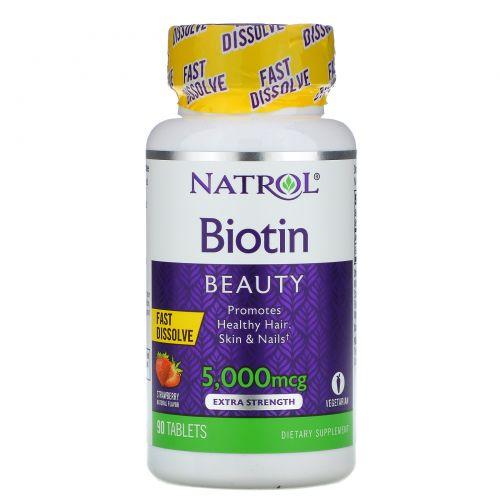 Natrol, Биотин (Biotin), с клубничным вкусом, 5000 мкг, 90 таблеток