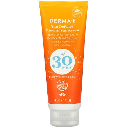 Derma E, Натуральное солнцезащитное средство с антиоксидантами, широкого спектра SPF 30, 4 унции (113 г)