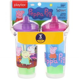 Playtex Baby, Sipsters, Peppa Pig, 12+ Months, 2 Cups, 9 oz (266 ml) Each