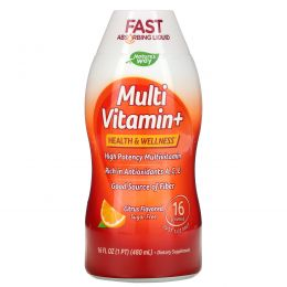 Wellesse Premium Liquid Supplements, Мультивитамины+, без сахара, натуральный аромат цитрусовых, 16 жидких унций (480 мл)