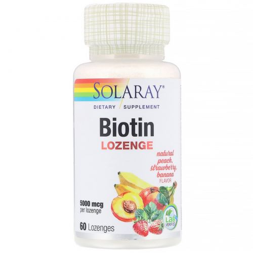 Solaray, Биотин, пряный фруктовый аромат, 5000 мкг, 60 пастилок