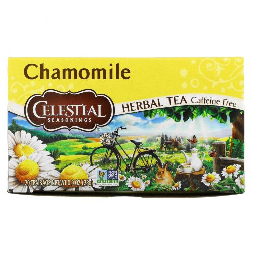 Celestial Seasonings, Травяной чай, без кофеина, ромашка, 20 чайных пакетиков, 0,9 унций (25 г)