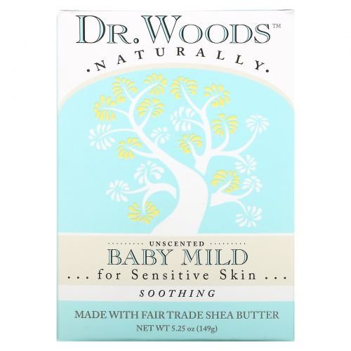 Dr. Woods, Baby Mild Castile Soap, Soothing, Unscented, 5.25 oz (149 g)