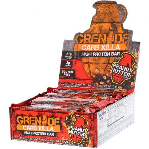 Grenade, Батончики Carb Killa, арахисовая паста, 12 батончиков, 2,12 унции (60 g) каждый