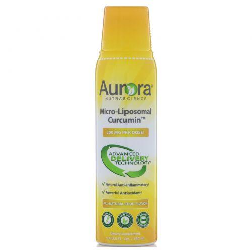 Aurora Nutrascience, Куркумин в форме микро липосом, натуральный фруктовый вкус, 200 мг, 5,4 ж. унц.(160 мл)
