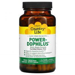 Country Life, Country Life, не содержит глютена, пробиотик Power-Dophilus, 200 веганских капсул