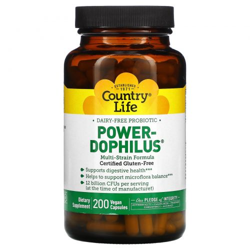 Country Life, Country Life, не содержит глютена, пробиотик Power-Dophilus, 200 веганских капсул