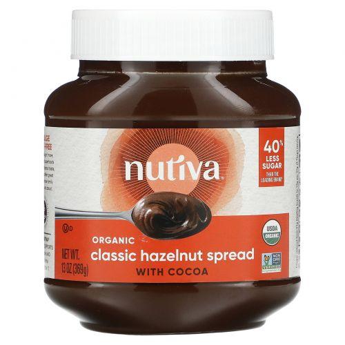 Nutiva, Органическая шоколадная паста со вкусом лесного ореха, Классическая, 13 жидкий унций (369 г)