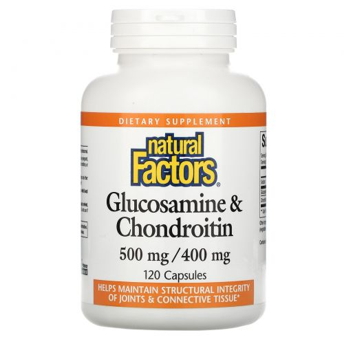 Natural Factors, Глюкозамин и хондроитин, 500 мг/400 мг, 120 капсул