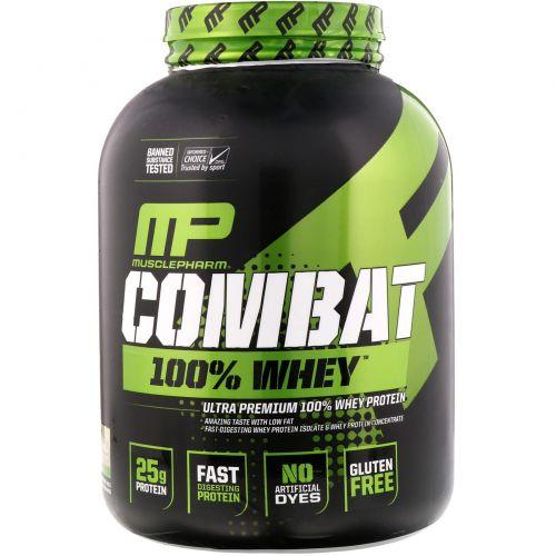 Muscle Pharm, Combat, 100% Whey, Baunilha, 5 lbs (2269 g)