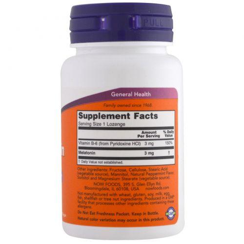 Now Foods, Мелатонин, 3 мг, 180 пастилок