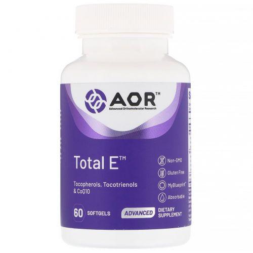 Advanced Orthomolecular Research AOR, Total E, 60 Softgels