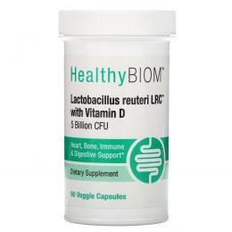 HealthyBiom, Lactobacillus Reuteri LRC с витаминомD, 5млрд КОЕ, 90растительных капсул