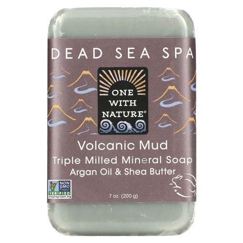 One with Nature, Тройное пилированное минеральное мыло, вулканическая грязь, 7 унций (200 г)